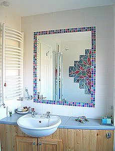 Satin White Tiles Mosaic Tiles And Mirror ...