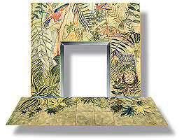 handpainted fireplace tiles, animals in jungle
